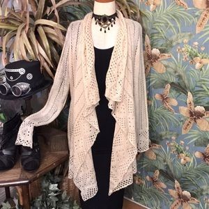 Vintage look soft lace knit waterfall sweater- XS